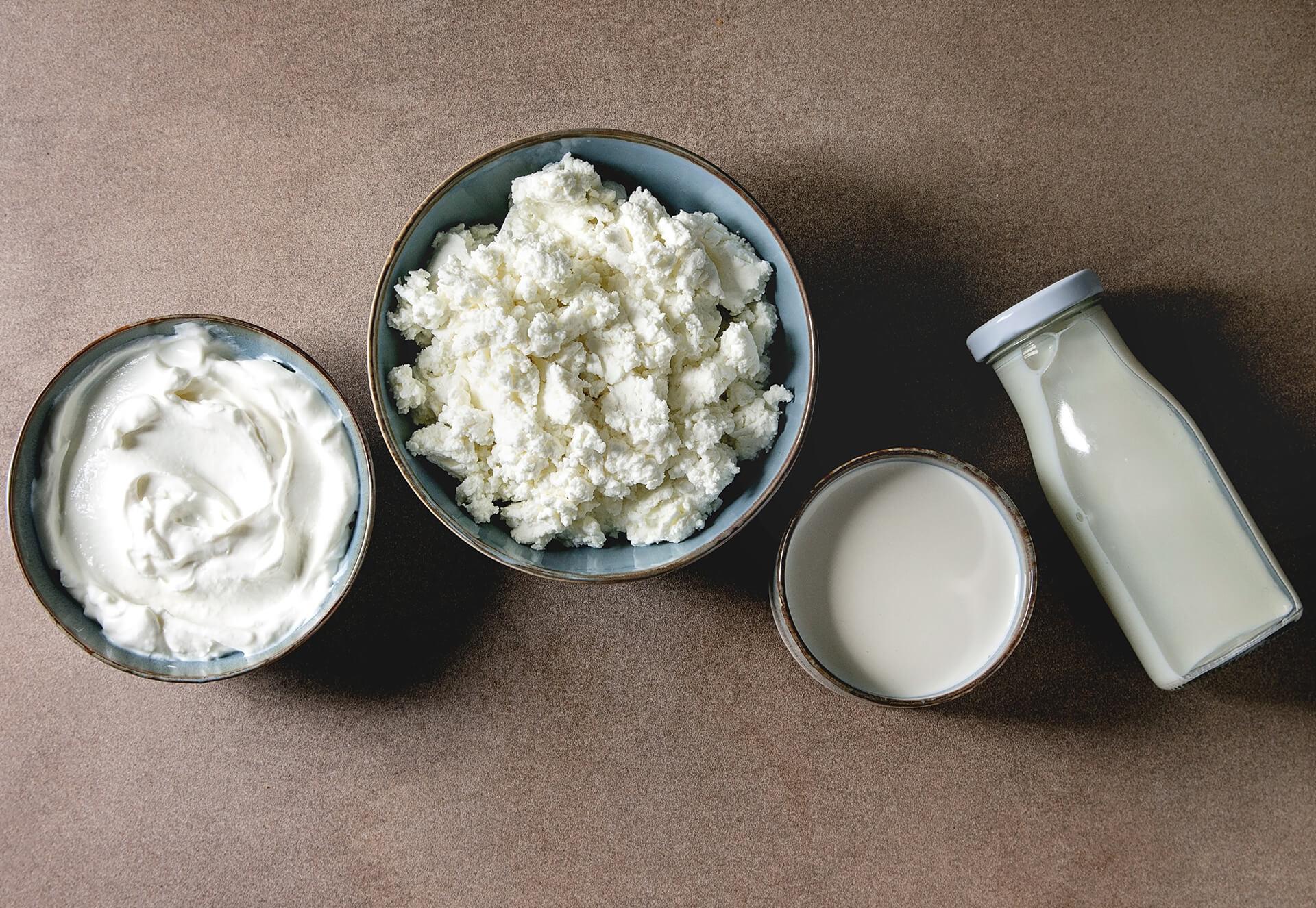 Prodotti caseari: latte, yogurt e mozzarella
